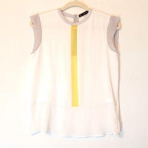 Zara Basic Sheer Sleeveless Blouse White Yellow S